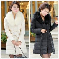 2014 New women winter jacket Fashion Large Raccoon Fur Collar Double-breasted Bow belt Slim Hooded coat Women duck down jacket