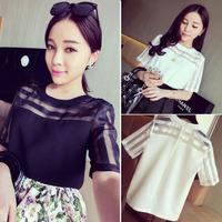 Resuli 2014 new arrivel 1PC Sexy Womens Chiffon Gauze Short Sleeve T-Shirt Casual Blouse Tops Free shipping&Wholesale