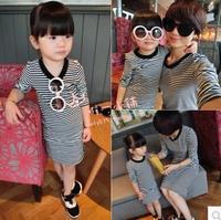 Free Shipping Wholesale (5 Size/Lot) New 2014 Childrens Kids Girls Autumn Fashion Leisure Paternity Wild Striped Dress Set