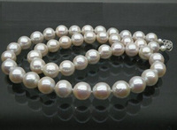 LUXURIOUS AAA 9-10mm round white south sea pearl necklace 14K gold best gift