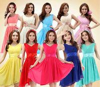 11 colors,Hot sale brand quality double shoulder empire Asymmetry chiffon bridesmaid dresses,short design back zipper dress,S-XL