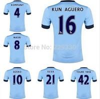 2014 2015 New Season Short Sleeves Men's Blue Home Kit Kun Aguero David Silva Toure Yaya Jersey Best Thai Quality Free shipping