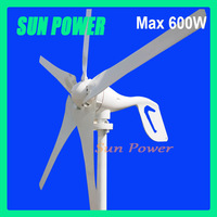 Free shipping low start up wind speed Max 600w wind turbine-generators.CEapproved , 3-year warranty