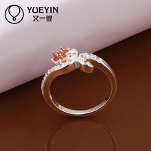 2015 NEW Rhinestone Austrians Crystals Imitation Diamond Ruby Red Gemstone Flower Fashion Ring Jewelry for Women