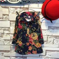 Free Shipping Wholesale (5 Size/Lot) New 2014 Childrens Kids Girls Autumn Fashion Leisure Navy Blue Flower Dress