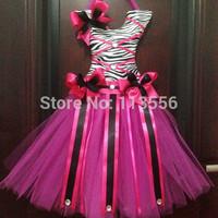 EMS Free Shipping Hot Pink Zebra Tutu Hair Bow Holders 12 pcs /lot