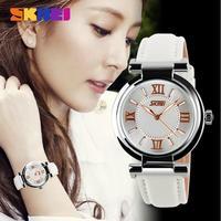 2014 New Women Dress Watches 3ATM Waterproof Genuine Leather Strap Fashion Quartz Watch Student Wristwatches 5COLORS