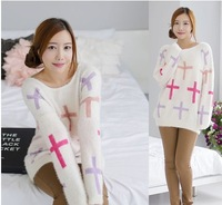 2014 Korean Version of The New Spring Color Cross Pattern Loose Long-sleeved Round Neck Mohair Sweater Female Long-haired