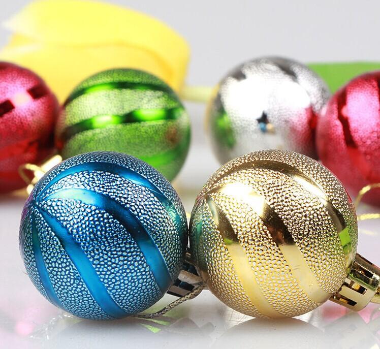 Free shipping 6pcs/lot Christmas Stripe Christmas Tree Ornaments Decorations for New Year 7CM Christmas Ball Flash Ornament(China (Mainland))