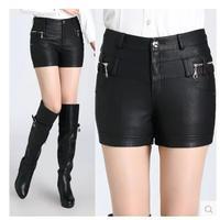 Free shipping autumn female slim PU leather shorts ,plus size basic Faxu Leather Boot cuts ,S M L XL XXL XXXL