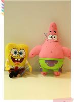 sponge bob 20cm 2pcs/lot spongebob plush toy soft anime cosplay doll for kids toys cartoon figure cushion home