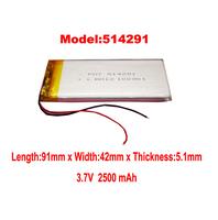 Lithium Li-polymer rechargeable Battery  Li-Po ion 3.7V 2500 mAh for bluetooth mp3 mp4 mp5 gps psp 514291 free shipping