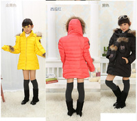 New arrival 2014 children's clothing children's down jacket and long sections baby girls thick winter Slim Down 5 colors