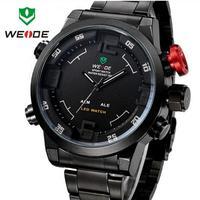 WEIDE Stainless Steel Watch Multifunction Military Watch relogios masculinos LED Digital Quartz Outdoor Sports Dress Wristwatch