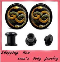 Uv Gauges Plugs Screw Expander Wholesale 160pcs/lot mix 4-16mm Snake Logo  Ear Tunnels Flesh Body Jewelry Free Shipping