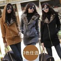 2014 New Fashion Sudaderas Casual Zipper Hoodies Sweatshirt Women Long Sleeve Leopard Printed Jacket Coat Warm Sweater Outerwear