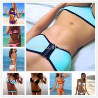 New Trendy Top Selling Neoprene Push Up Bikinis Swimwear Sexy Fashion Bandeau Beach Bikini Set