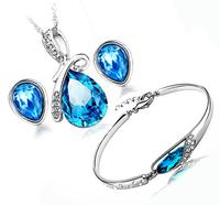 100% Silver 925 AAA Jewelry Sets for Women Navy Blue Water Drop Jewelry Set Crystal Solid Silver Necklace + Earring + Bracelet