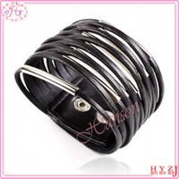 Christmas gift for lovers fashion bracelet, black leather multilayer bracelet, couple bracelet
