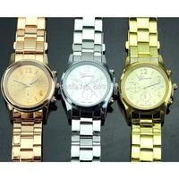 Fashion 2014 Geneva Ladies Women Men Boy Unisex Gold Silver Rose Stainless Steel Quartz Wrist Watch