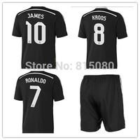 2014 2015   JAMES 10 KROSS 8  black Soccer Jersey Football Uniform Shirt   soccer jerseys