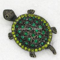 Wholesale 12piece/lot Green Crystal Rhinestone Turtle Brooches Fashion jewelry gift C337 K4