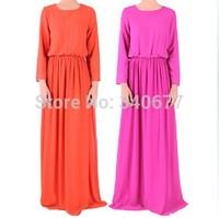 High Quanlity 2014 Chiffon Full Sleeve Solid Colors Long Dress,Fashion Muslim Dress For Women,Islamic Abaya Free Shipping