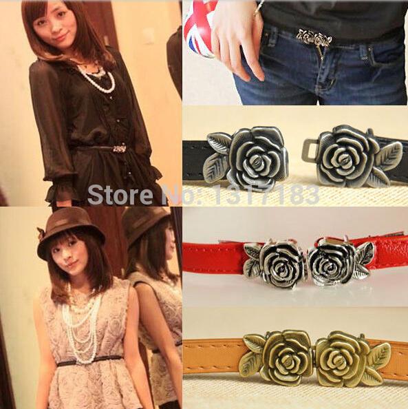 Women Lady Fashion Narrow Thin Skinny Low Waist Leather Rose Buckle Belt(China (Mainland))