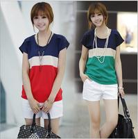 S-3XL  Women Fashion Plus size blouse femininas  short sleeve O-neck chiffon shirt  YF001