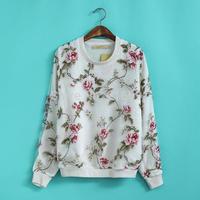 2014 New fashion Europe Women vogue casual Organza printed long sleeve Hoodies Lady elegant beautiful flower pullovers#J386
