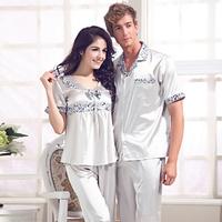 2014 Casual Women Silk Pajamas Sets For Sleep Ladies Nightwear Suit Autumn Home Clothing Pijamas Femininos Verao Short Sleepwear