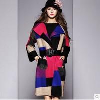 2014 fashion High quality elegant medium-long outerwear woolen overcoat Wool Blends Coat coat women