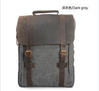 "Men's/Women's Retro Canvas Crazy horse Leather Hiking Travel Military Backpacks Satchel Rucksack 15"" laptop Weekend SchoolBag"