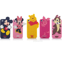 3D Cartoon mickey minnie bear piglet chip cartoon character phone case back soft cover for iphone 4 4S PT1345