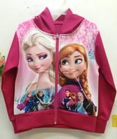 New Frozen Girl's rose red Coats Girls Frozen princess Jacket Fashion Kids Outwears Casual Sports Jackets Frozen Coat 50 pcs