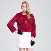 2014 winter warm solid Rex rabbit fur short and long-sleeved women coat stitching jacket luxury natural fur outwear red fur coat