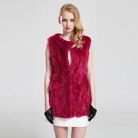 2014 New Rabbit fur grass vest red solid fur jacket natural luxury rabbit fur winter warm vest