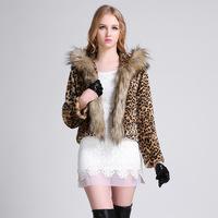 2014 new fashion leopard print natural raccoon fur collar women fur coat fashion jacket luxury fur outwear winter warm fur coat