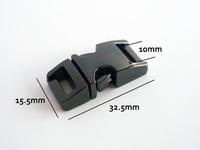 """(10pcs, Gun Black) 3/8"""" or 10mm Webbing Contoured 100% Metal Curved Side Release Buckles for 550 Paracord Bracelets Bag Parts"""
