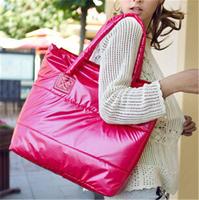 Top Quality !!!Factory Sale!!! 2014 Hot Winter Cotton Handbag Fashion Women handbag 9 color women shoulder bag feather tote