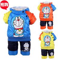 2014 new kids clothing set Winter boy girls warm sets suits baby children thick cartoon suit jacket +pants Set suits baby set