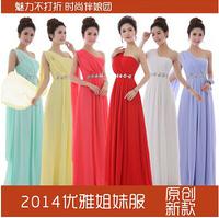 New specials bestselling 2014 autumn summer long design one-shoulder Diamond bridesmaid dresses,slim empire back zipper dress