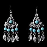 Unique Retro Vintage Pattern Design Tibetan Silver Leaves Turquoise Earrings Dangle Earring For Woman