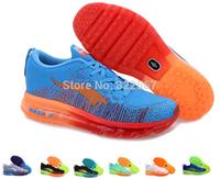 2014 Flyknit Max Shoes blue color Men 2014 Flyknit shoes Male Flyknit sport shoes size 40-46