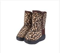 2014 Winter new fashion Leopard short plush children's snow boots warm baby shoes, children's shoes cotton boots