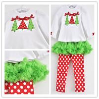wholesale 5set/lot gril's clothes long sleeve t-shirt ball gown pants 2pcs set christmas baby clothes casul kids clothes