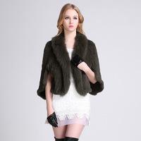 2014 new woman solid slim rabbit  fur  v-neck fashion fox fur knitted coat bat sleeved fur jaket high-end fur overcoat