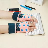 2014 Free Shipping lady's warm winter Knitted Gloves for Women Fingerless Gloves  dot sweet color girl's lovely glove