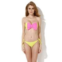 Free Shipping 2014 new bikini Greenish Yellow Bandeau Top Bikini Swimwear with A Playful Bow at the Center Front in Low Price