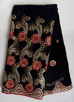 Hot Smooth velvet lace fabric with lots of gold sequins full embroideries 9010-3 black red